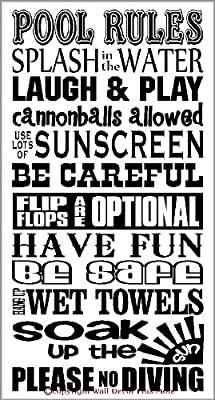 Wall Decor Plus More WDPM2898 Pool Rules Subway Art Phrases and Quotes Wall Decal Sticker, 23x13-Inch, Black