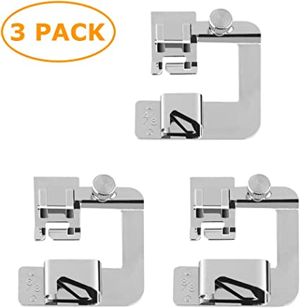 ajustable y ancho para pies de dobladillo 4//8 pulgadas, 6//8 pulgadas, 8//8 pulgadas Juego de 3 prensatelas para m/áquina de coser con dobladillo enrollado