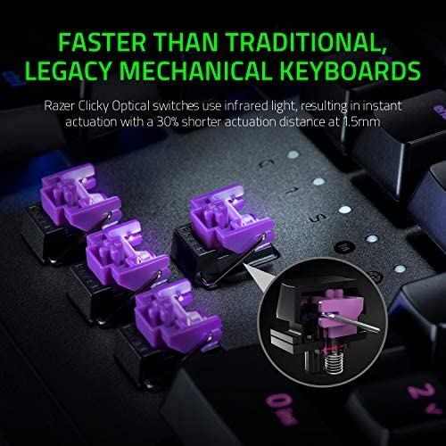 Razer Huntsman Elite Gaming Keyboard: Fastest Keyboard Switches Ever – Clicky Optical Switches – Chroma RGB Lighting – Magnetic Plush Wrist Rest – Dedicated Media Keys & Dial – Classic Black 51EPOiqr 2BAL