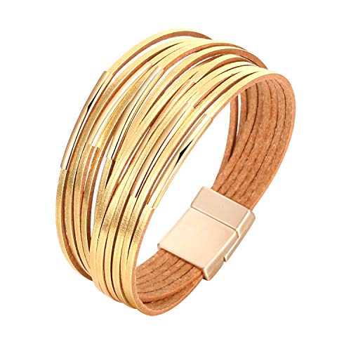 - Fesciory Women Multi-Layer Leather Wrap Bracelet Handmade Wristband Braided Rope Cuff Bangle with Magnetic Buckle Jewelry (Short Gold)