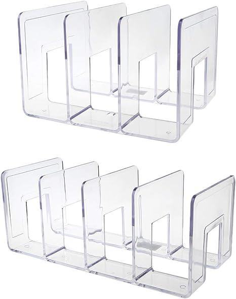 Fermalibri in acrilico trasparente multistrato supporto decorativo da scrivania JumpXL supporto antiscivolo per scaffali casa 02 divisori decorativi per ufficio libri