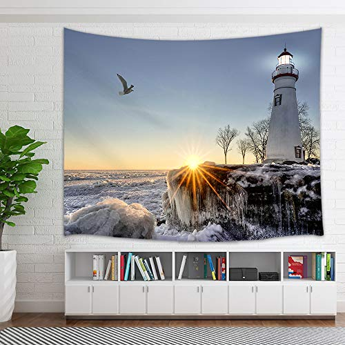 - KOTOM Lighthouse Tapestry, Nautical Ocean Waves Rocks Seaside in Sunset Tapestry Wall Hanging, Wall Art for Bedroom Living Room Collage Dorm Home Decor Bedspread(60