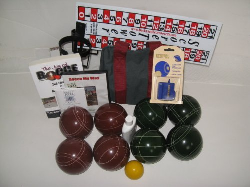 Everything Bocce Package - 110mm Epco Red and Green Balls, Score Tower, High ... by Epco