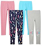 Spotted Zebra Girls' Little 4-Pack Leggings, Skate, X-Small (4-5)