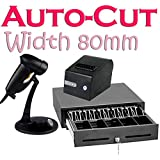 2xhome - Cash Register & Receipt Printer & Laser Scanner Combo - Package Set Kit Bundle Lot Complete - Point of Sale Workstation POS System Cashier - Money Drawer Bill Coin Tray Till Retail Inventory Shop Store Sale Box - 3.1'' 80mm Thermal Printer USB Int