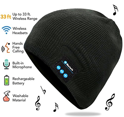 Price comparison product image Bluetooth Beanie,  Rechargeable Unisex Wireless Beanie Hat with Removable Stereo Headphones,  Microphone & Volume Control by HANPURE