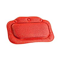 Merryshop@ Foam Relaxing Neck Spa Bath Pillow with Slip Resistant Suction Cups (S) (Red)