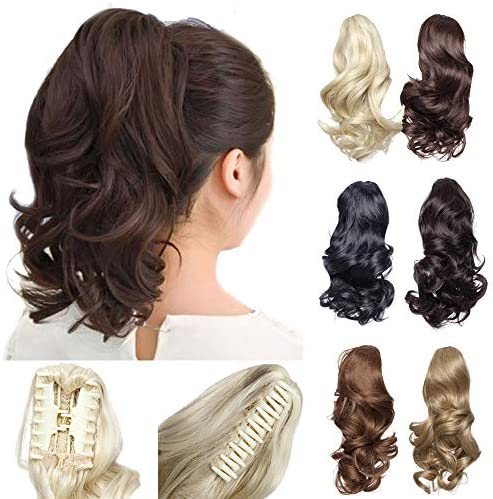 12 Short Curly Claw Ponytail Extension Clip In On Hairpiece With Jaw Claw Synthetic Fluffy Pony Tail One Piece 12 Curly Dark Black Amazon Ae