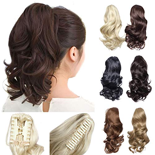12quot Claw Ponytail Extension Short Curly Clip in Hairpiece with Jaw/Claw Synthetic Fluffy Pony Tail One Piece for Women12quot CurlyDark Brown