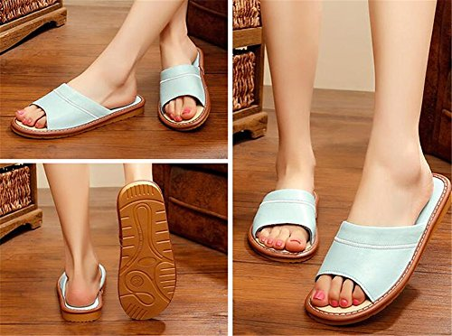 W Women For Sheepskin Men Autumn Summer Dermis Floor Wooden Bleu Comfortable Leather Tellw Slippers Spring OCwBnxfZfq