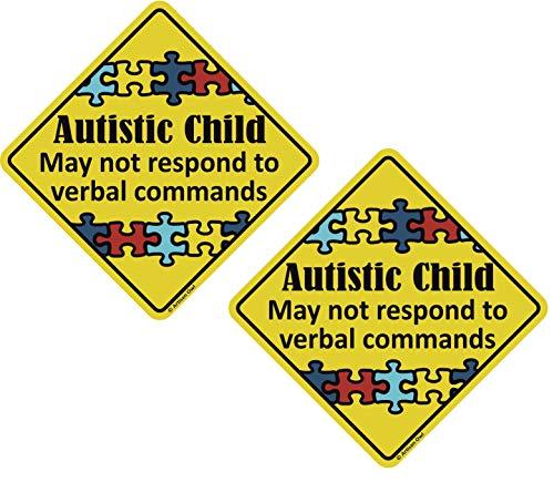 Autistic Child Emergency Magnet 6 x 6 inch Auto Bumper Car Magnet (2 Magnets)]()