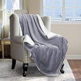 HOMEIDEAS Sherpa Fleece Blanket - Soft Twin Size Premium Luxury Fuzzy Reversible Blanket - Warm and Plush Travel Blanket for Bed Sofa Travel Couch 66 x 90 Inches,Light Grey