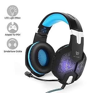 Auriculares para Juego PC & PS4 de marsboy, Auriculares con micrófono y Luces de Efecto LED para Ver películas, Jugar, chatear, Escuchar música, Azul