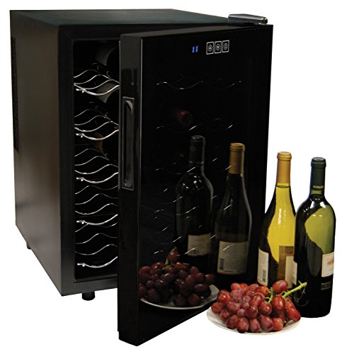 Koolatron WC20 Mirrored Glass Door Wine Cellar (20 Bottle), Black