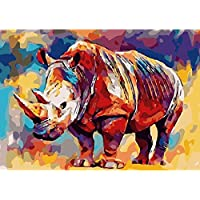 Zowella DIY Paint by Numbers for Adults, Colorful Rhinoceros, Beginner Oil Painting Kit with Canvas, 3 Soft Brushes, Classic Wall Art Home Decor