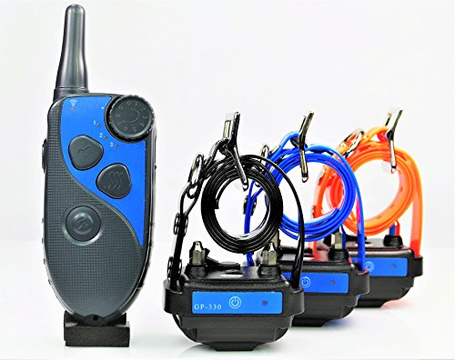 GROOVYPETS 650 Yards Remote Dog Training Shock Collar Obedience Trainer:Rechargeable Waterproof, 10 Levels Static Stimulation,Intuitive Control of Tone and Vibration (Three-Dog Trainer) by GROOVYPETS