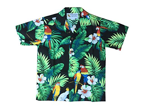Made in Hawaii ! Boys Tropical Parrot Hawaiian Luau Cruise Aloha Shirt