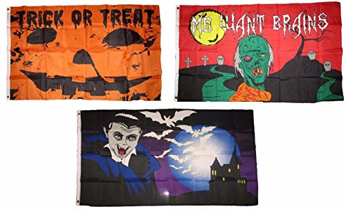 ALBATROS 3 ft x 5 ft Happy Halloween 3 Pack Flag Set #140 Combo Banner Grommets for Home and Parades, Official Party, All Weather Indoors Outdoors 140 Retail Combo Pack