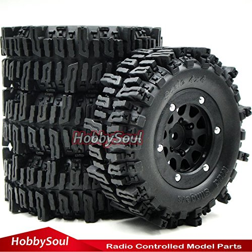 4wd Tires Wheels (4pc RC 1.9 Mud Slingers Crawler Tire 93mm W/ 1.9'' Beadlock Rim For RC 4WD Axial)