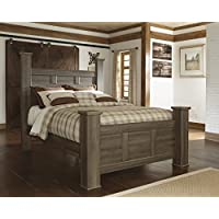 Juararoy Casual Dark Brown Color Replicated rough-sawn oak Queen Poster Bed