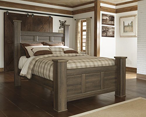 Brown Queen Poster Bed - FurnitureMaxx Juararoy Casual Dark Brown Color Replicated rough-sawn oak Queen Poster Bed