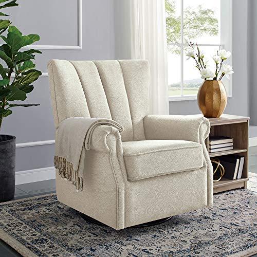 Classic Brands David & John Popstitch Upholstered Glider Swivel Rocker Chair, Shell
