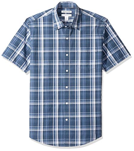 Amazon Essentials Men's Slim-Fit Short-Sleeve Plaid Casual Poplin Shirt, Navy, Medium ()