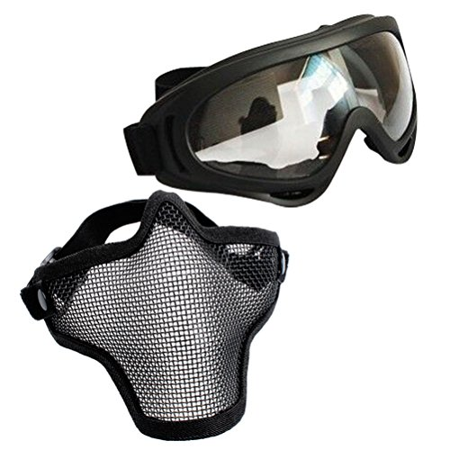 WINOMO 2pcs Adjustable Half Face Mask Steel Mesh Mask and Goggles Set for Paintball by WINOMO