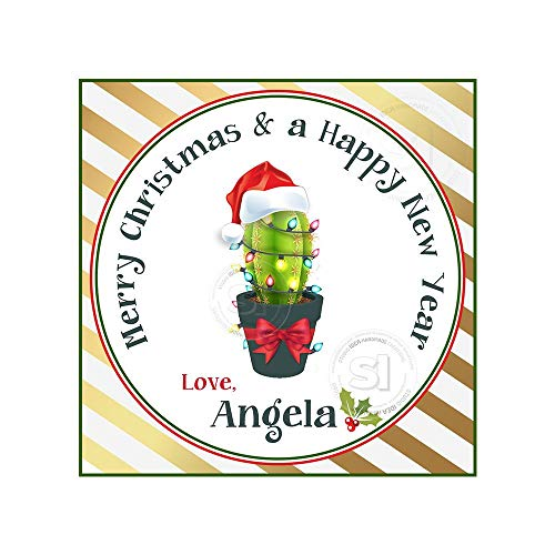 Printable Custom Christmas Cactus Tagstoppersholidays Wishes Personalized Tags Stickers 2.5 Inches with 15Pcs ()