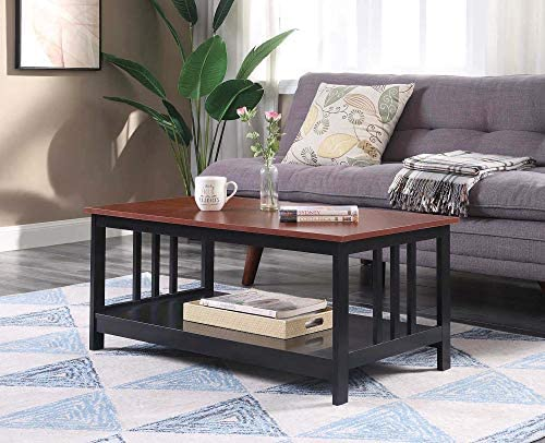 Convenience Concepts Mission Coffee Table, Cherry Black