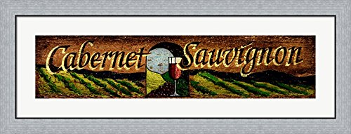 Cabernet by Red Horse Signs Framed Art Print Wall Picture, Flat Silver Frame, 43 x 16 inches