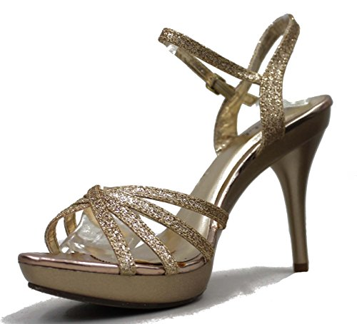 Bonnibel Womens Amy Strappy Glitter Ankle Strap Platform Stiletto Sandal Shoes Champagne jAiVYvxlz5