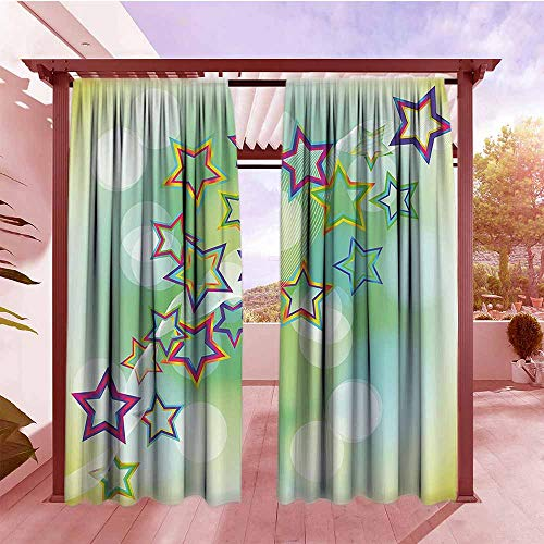 Thermal Insulated Blackout Curtains Abstract Bright Star Figures