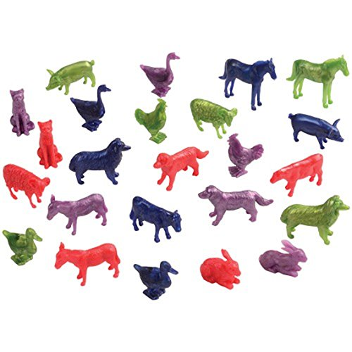 Assorted Color Mini Farm Animal Figures (24)