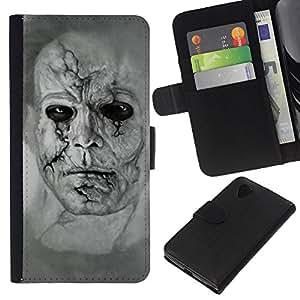 Planetar® Modelo colorido cuero carpeta tirón caso cubierta piel Holster Funda protección Para LG Google NEXUS 5 / E980 / D820 / D821 ( Zombie Art Drawing Portrait Man Scarred Face )