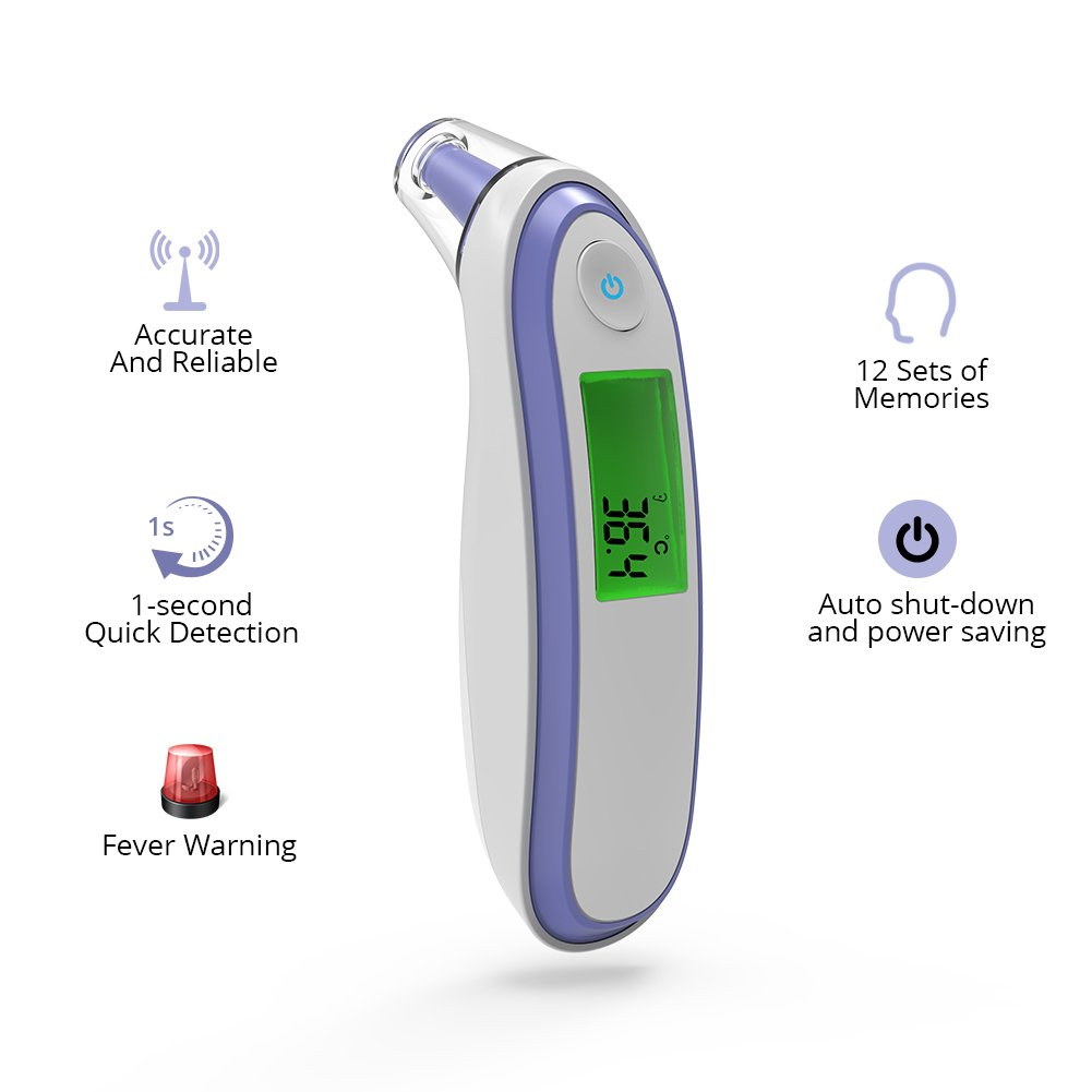 Yonker Medical Forehead and Ear Thermometer, Infrared Digital Thermometer Suitable for Baby Infant Toddler and Adults with FDA and CE Approved Batteries Included YK-IRT1(Purple) by Yonker (Image #4)
