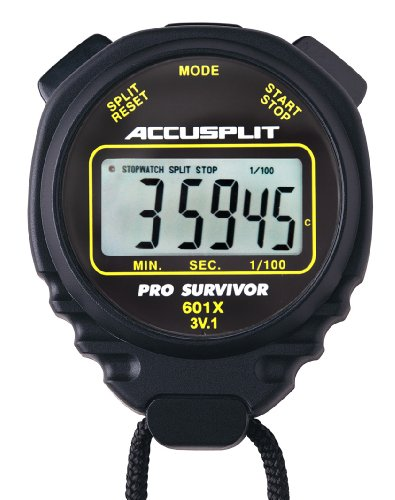 ACCUSPLIT Pro Survivor - A601XBK Stopwatch, Clock, Extra Large Display (Black) (Mechanical Stopwatch)