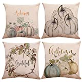 KACOPOL Watercolor Pumpkin Throw Pillow Covers Cotton Linen Autumn Harvest Season Halloween Thanksgiving Day Gift Home Décor Pillow Case Waist Cushion Cover Square 18'' x 18'' (Watercolor Pumpkin)