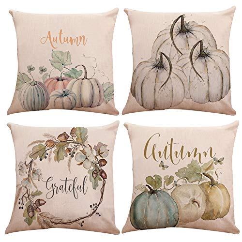 KACOPOL Watercolor Pumpkin Throw Pillow Covers Cotton Linen Autumn Harvest Season Halloween Thanksgiving Day Gift Home Décor Pillow Case Waist Cushion Cover Square 18'' x 18'' (Watercolor Pumpkin) by KACOPOL