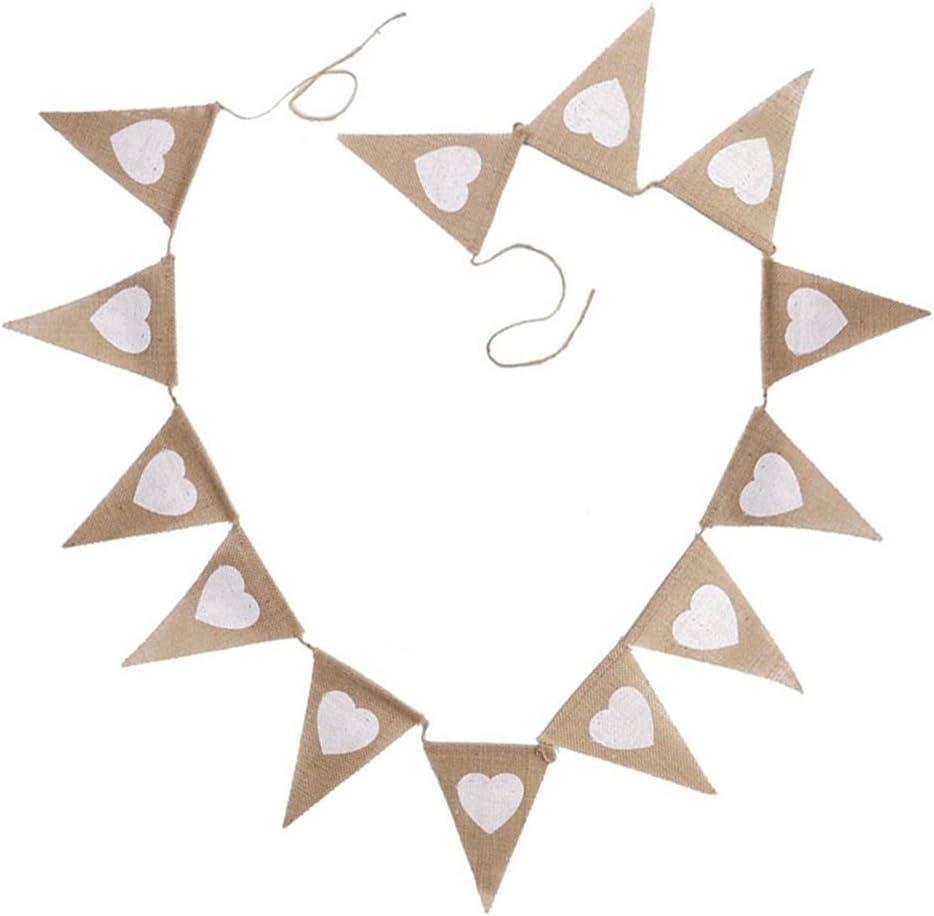 in tessuto juta G2Plus stile vintage//chabby chic JUST MARRIED double-face adatto come decorazione per matrimonio rustico 2,74 m Festone di bandierine triangolari