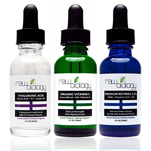Raw Biology Organic Liquid Facelift with Vitamin C Serum, Retinol and Hyaluronic Acid for Skin