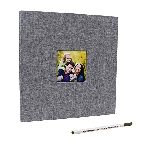 Self Adhesive Photo Album Magnetic DIY Linen Hardcover Scrapbook Album for Valentine's Day Gift Birthday Gift for Mum Mothers Day Fathers Day Present (Grey-Small) ()
