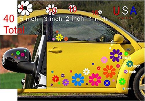 (DeanSigns4u 40 Car Flowers Daisy Bright Rainbow Set Sticker Decals from USA VW Boat Golf Cart Kayak USA)