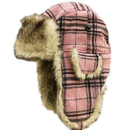 City Hunter W680 Wool Premium Solid Trapper Hats Multi Colors (Plaid (Trapper Bomber Hats)