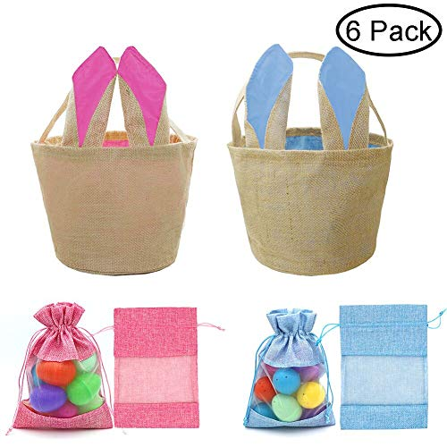 West Bay Easter Baskets Bags, 2Pcs Easter Egg Baskets Kids Girls 4Pcs Easter Drawstring Treat Bags Easter Bunny Decoration Party Supplies Easter Egg Hunt Tote Cross-Stitch Jute Linen Burlap Daily ()