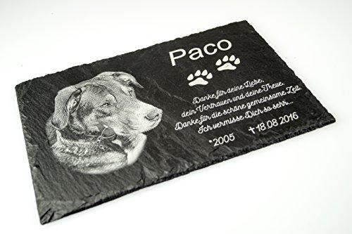 Grabtafel Gedenktafel Grabstein Gedenkstein mit Foto & Gravur ca. 30 x 20 cm für Tiere / Hund Katze Pferd mit Foto- und Textgravur - kein Druck schönes Andenken an die Liebsten /schöne Grabplatte