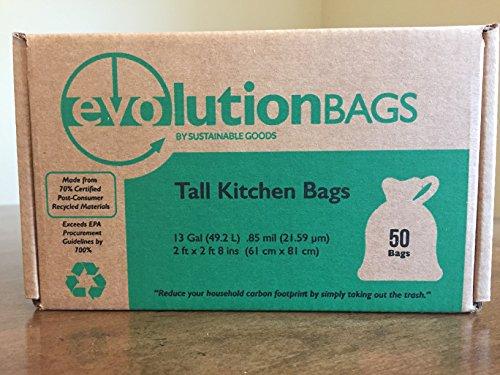 Evolution Trash Bags: Tall Kitchen Trash Bag, 50 bags/box, made with 70% CERTIFIED PCR - Bag Evolution