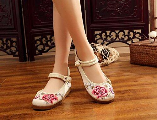 ZLL Gestickte Schuhe, Sehnensohle, ethnischer Stil, weibliche Tuchschuhe, Mode, bequem, lässig Beige