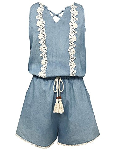 Smukke, Big Girls Vintage Lace Trimmed Denim Sleeveless Romper, 7-16 (Denim, 6X)