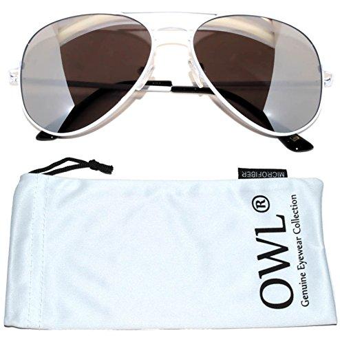 Classic Aviator Sunglasses Silver Mirrored Lens White Frame Spring Hinge - White Aviator Frame Sunglasses